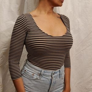 Flattering striped bodysuit